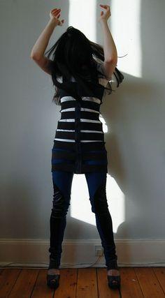 t-shirt cut into bondage styled dress. huh!