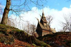 Norway . Bergen .  Eglise en bois debout. UNESCO