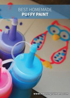 This homemade puffy paint recipe is easy to make so your kids can play a huge part in it. Put your paints in a squeeze bottle or use brushes for a thicker texture; then get creative with this DIY activity!                                                                                                                                                     More
