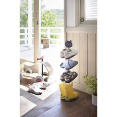 Yamazaki The cute and colorful Kinkaid 4 Pair Shoe Rack can hold up to 4 pairs of kids shoes. With a lovely animal design, kids definitely love it. The height is adjustable. Shoe Rack Tier, Wood Shoe Rack, Narrow Shoe Rack, Narrow Shoes, Kids Shoe Rack, Over Door Shoe Rack, Door Shoe Organizer, Shoes Stand, Cat Shoes