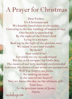 a simple prayer for Christmas Day