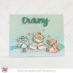 Melania Deasy for Avery Elle  Supplies: Simply Said Crazy Clear Stamps Simply Said Crazy Ellements Monsters Clear Stamps Monsters Ellements  Dotted Borders Ellements  The Everyday Collection Paper Pad The Caribbean Collection A2 Folded Cards   Aquamarine Pigment Ink Pad