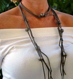Leather wrap necklace Women necktie Grey Rustic by JewelMeShop