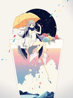 アメフラシ p站 二次元 插画 少女 头像 手绘 动漫 原创
