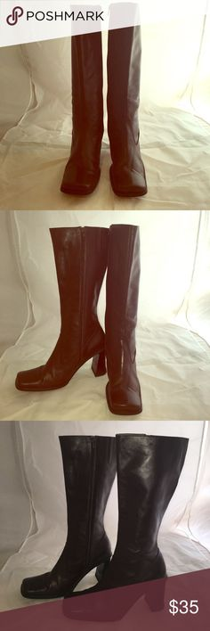 EMILIO BERTOLINI CHOCOLATE BROWN BOOTS Emilio BERTOLINI dark brown Leather boots. Chunky 3 inch heels. Knee highs. Zippers and stretchable area for larger calves. Wonderful condition. Size 8 1/2. Emilio Bertolini Shoes Heeled Boots