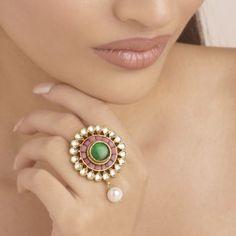 polki ring Emerald Green, Blue Sapphire, Sapphire Rings, Ethnic Jewelry, Jewellery, Diamond Jewelry, Gemstone Rings, Turquoise, Jewels