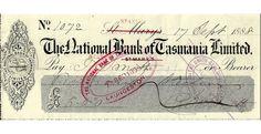 1888 National Bank Of Tasmania Rare Offering The town here has been altered from St Marys to Stanley. It is in wonderful condition given its age with a lovely example of the bank logo on the left hand margin.  A remarkable example of a cheque from the same year when Henry Parkes was the Premier of New South Wales.  - See more at: https://www.noteworthy-collectibles.com/index.php?route=product/product&product_id=3072547#sthash.1vV6DJrJ.dpuf