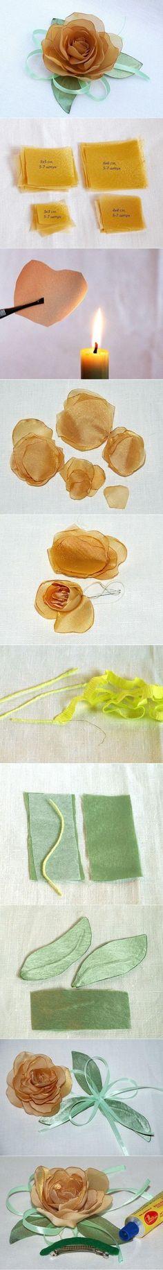 rosa de seda hecha a mano