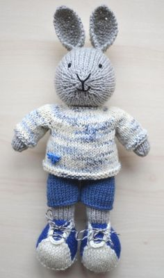 Knit Bunny Boy Soft Toy Doll for Boys Knitted Little Bunny in Cotton Suit Cute Stuffed Animal Gift Rabbit : Hand Knit Bunny Boy Soft Toy Doll for Boys Knitted Little Knitted Bunnies, Knitted Animals, Knitted Dolls, Knitted Stuffed Animals, Knitting Patterns Boys, Knitting Projects, Baby Knitting, Cute Crochet, Crochet Toys