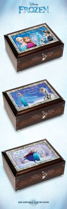 Let the magic of Frozen enchant you with these mahogany-finished music boxes. Which character do you love best?