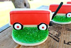 Adorable....use as place cards!!!  Vintage red wagon birthday party for a little boy:)