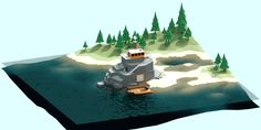 Low poly Ranger river post on Behance