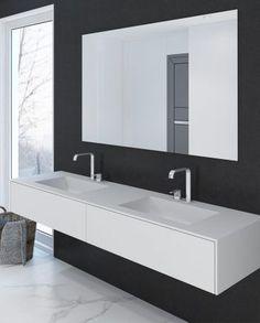 Doppelwaschtisch aus DuPont Corian® in Glacier Wh… New Bathroom Designs, Bathroom Inspo, House Plans, Vanity, Home Decor, Dupont Corian, Andorra, Bathrooms, Modern Bathrooms