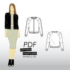 M-XL Bomber jacket with ribbed cuffs and raglan sleeves (PDF sewing pattern for viscose fabrics)
