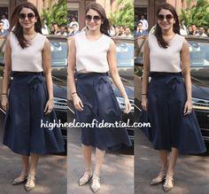 Anushka Sharma White Crop Top & Navy Skirt