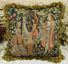 18-Vintage-Chic-Charm-Gobelin-Tapestry-Needlepoint-Pillow-French-Aubusson-Style