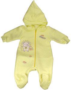 Pyjama à capuche bébé jaune-Vêtement nouveau-né bébé fille/garçon
