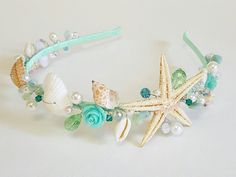 Your place to buy and sell all things handmade Sea Glass Crafts, Seashell Crafts, Beach Crafts, Flower Crown Hairstyle, Flower Girl Hairstyles, Mermaid Baby Showers, Baby Mermaid, Bridal Tiara, Wedding Accessories
