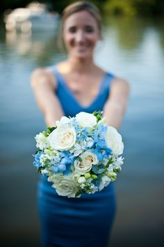 Blue themed wedding, bridesmaid & flowers. Graham Young Photography.