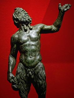 Roman bronze figurine of Pan, 1st-3rd centuries CE, from southern Italy.