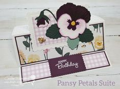 A Blackberry Bliss pansy is the standout focal point on my Centre Fold Easel card for this weeks CCBH from the AWH Stampin' Up! team. Fancy Fold Cards, Folded Cards, Diy Birthday, Birthday Cards, Easel Cards, Fathers Day Cards, Watercolor Cards, Sympathy Cards, Pansies