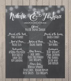 Wedding Party Sign, Wedding Ceremony Sign, Wedding Program, Bridal Party Chalkprint Program Sign- We Wedding Program Sign, Wedding Ceremony Signs, Wedding Invitations, Mr Mrs, Wedding Party List, Wedding Ideas, Post Wedding, Trendy Wedding, Rustic Wedding