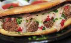 Meatball panini with melted mozzarella cheese and tangy tomato sauce. MEATBALLS. CHEESE. Need we say more?