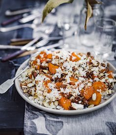 Peter Gilmore's roasted carrots with feta, almonds and sherry caramel :: Gourmet Traveller