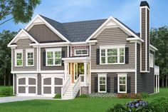 This lovely split level house plan is ideal for a growing family with it unfinished basement foundation for future expansion. There is a two car front loading garage with a centrally located staircase for easy access to the laundry room and main house. The remainder of the space would be ideal for an in-law or …