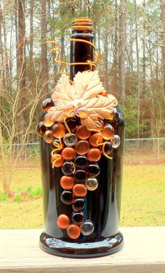 Large Dark Brown Copper and Gold Liquor Bottle Light by booklooks, $22.00