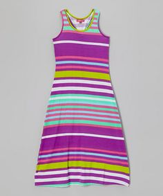 Another great find on #zulily! Purple Rain & Frangipani Stripe Maxi Dress - Girls by Chillipop #zulilyfinds