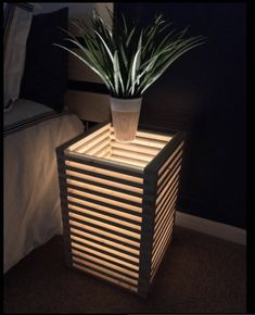 Clean, simple lines pair with a striking design on this stacked and illuminating modern table. With a total of 75ft of wood, this compact end table/night stand creates an eye-catching look with subtle sensibility that effortlessly blends with any modern to casual home decor. The