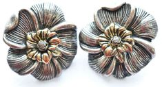 Chunky Flower Floral Earrings Clip On VTG Boho Mod Costume Jewelry #Unbranded #ClipOn