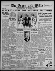 """The Green and White, March 21, 1930. """"Hundreds Here for Mothers' Festivities."""" Moms Weekend. """"The advance guard of the army of mothers who will come to Ohio University to celebrate the fifth annual Mothers' Week-end with their sons and daughters came to Athens in full force this morning."""" More than 600 mothers of Ohio University students were expected to come to Athens for concerts, shows, dinners, and other events. :: Ohio University Archives"""