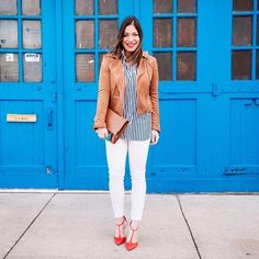 Freshen up your jeans and moto jacket combo for spring in white denim and tan suede ala @halliekwilson | Shop her look with www.LIKEtoKNOW.it | www.liketk.it/2gqhi #liketkit