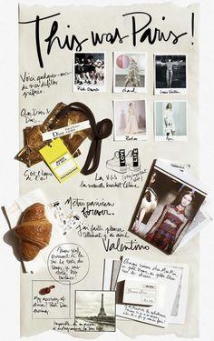 Project life, art journal, travel diary inspiration. Paris. France.