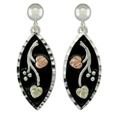 Black Hills Gold on Sterling Silver Antiqued Marquise Earrings