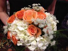 White #hydrangeas, #orange #roses and queen anne's lace #wedding #bouquet