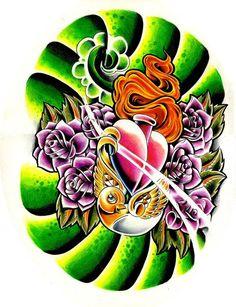 a new skool painting - tattoo style - inspired by Tattoo mania(c) gerrit. birdy roses heart new skool Tatuajes New School, Japan Tattoo, Original Tattoos, Heart Tattoo Designs, Painting Tattoo, Colored Pencils, Dragon Ball, Deviantart, Artist
