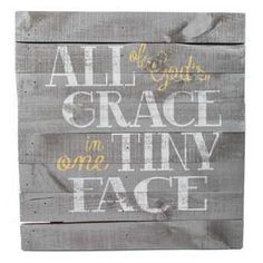All of God\'s Grace in One Tiny Face Pallet Rustic Wood Sign Yellow Gold Grey Gray Baby Shower Gift Nursery Wall Art Home Decor Girl Boy