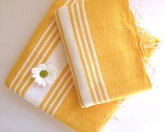Natural Turkish BATH and Head Towel Set Handmade by TheAnatolian