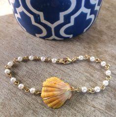 Hawaiian Sunrise Shell Pearl Bracelet by FlatteryDesigns on Etsy