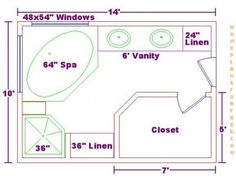 bathroom and closet floor plans |  free 10x18 master bathroom