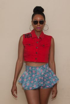 Peplum Shorts with thrift dyi jean crop vest. Check out more details at my blog!