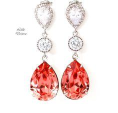 Coral Crystal Earrings CO-31