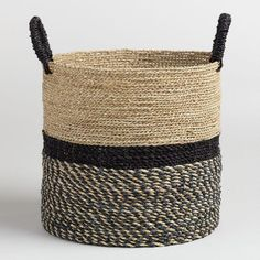 For the ledge -- see Baskets/Pottery board for more ideas: Cost Plus World Market Large Black and Natural Seagrass Calista Tote Basket by World Market Nursery World, European Home Decor, World Market, Handmade Home Decor, Sisal, Storage Baskets, Storage Organization, Lp Storage, Record Storage