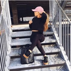 Shop Women's Pink size OS Hats at a discounted price at Poshmark. Description: Pink suede hat in perfect condition! Chill Outfits, Outfits With Hats, Casual Outfits, Cute Outfits, Fashion Outfits, Womens Fashion, Yoga Outfits, Sporty Fashion, Sporty Chic