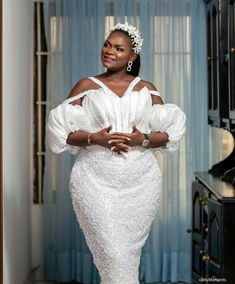 Lace Dress Styles, African Men Fashion, Classy Dress, All White, Fashion Dresses, White Dress, Gowns, Weddings, Bridal