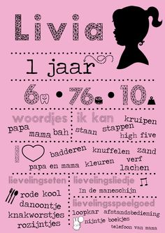 eerste verjaardag uitnodiging kaart 1 jaar uniek ontwerp op maat meisje roze krijtperk