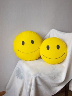 SMILE cotton pillow embroider pillow yellow by PillowsRollanda, $18.00